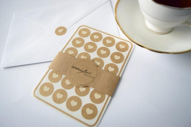 Wedding Invitation Stickers: 24 Kraft Stickers With Ivory Hearts