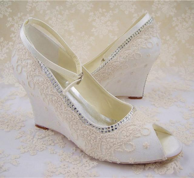 Wedge Shoes Bridesmaid Shoes Champagne Floral Pattern Lace Shoes Ivory