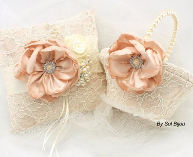 bridal ring bearer pillow and pearl flower girl basket set in blush and ivory blushing bride. Black Bedroom Furniture Sets. Home Design Ideas
