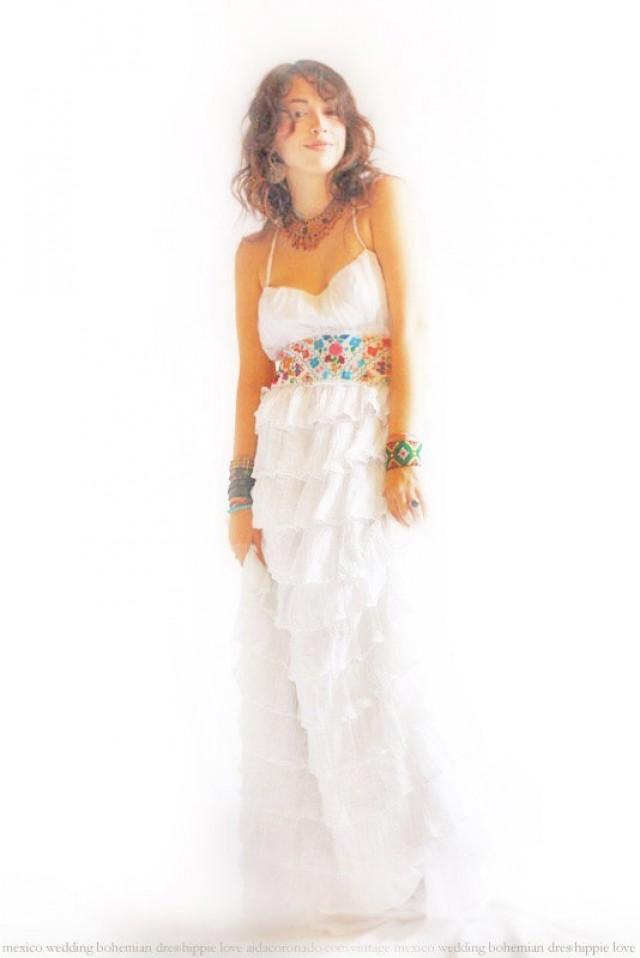 La mar serena bohemian eco wedding fiesta ruffled romantic for Organic cotton wedding dress