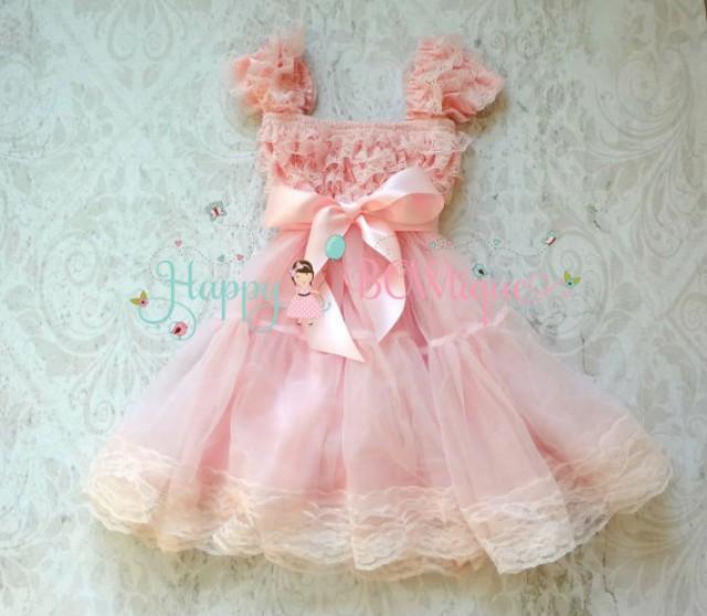 wedding photo - Flower girl dress, Baby Pink Bow Chiffon Lace Dress,Girls dress,baby dress,1st Birthday dress,Pink Dress,Princess dress,Wedding flower girl