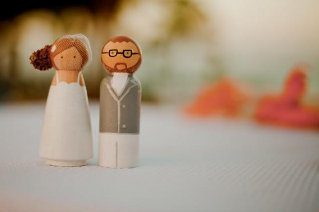 Personalized Wedding Cake Topper Wooden Doll Cute Peg