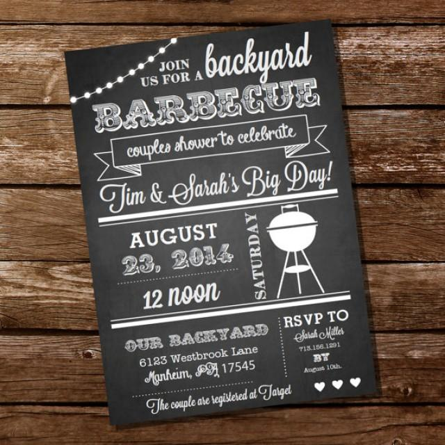 Chalkboard Couples Shower BBQ Invitation