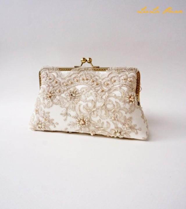 Elegant Wedding Beige Bridal Clutch Fall Wedding Vintage Inspired Wedding Bag Bridesmaid ...