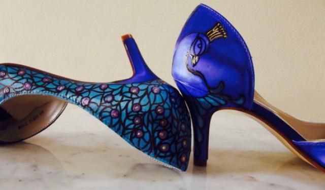 Sapphire Blue Wedding Shoes Something Blue Shoes Blue Peacock Shoes Bridal Peacock Plum