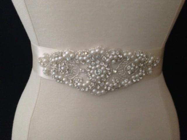 Bridal sash wedding dress sash belt pearl and for Pearl belt for wedding dress