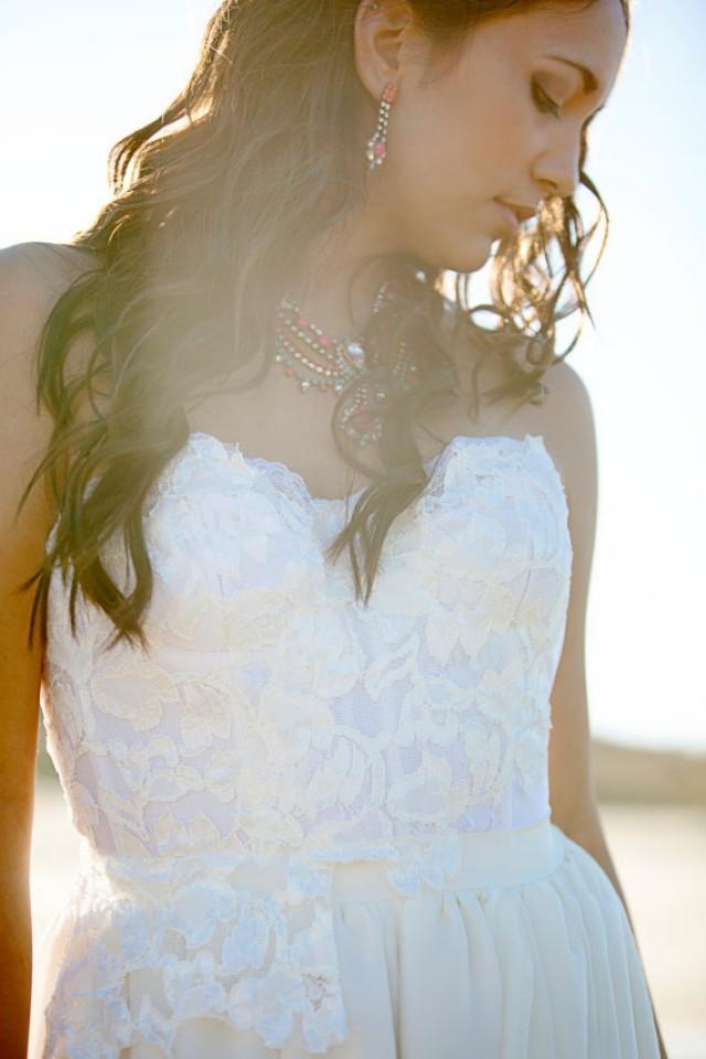 Wedding Dress Bustier Boho Bohemian Long Wedding Gown Silk