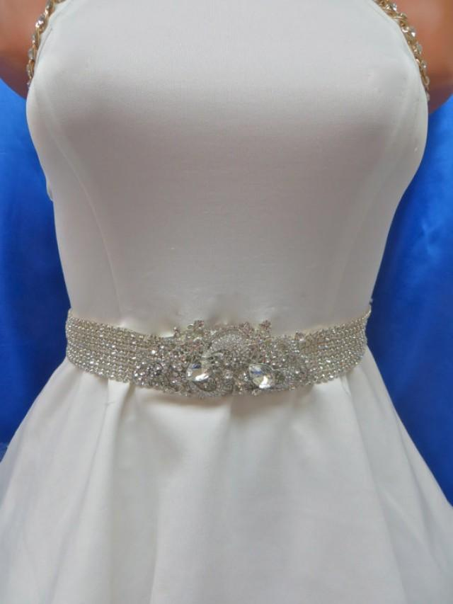 Rhinestone bridal sash wedding gown accessory crystal for Wedding dress sashes with crystals
