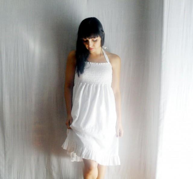 White Cotton Dress Tunic Dress White Dress Eyelet Dress