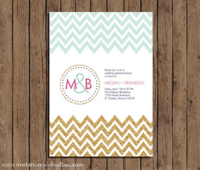 Mint gold glitter pink navy monogram chevron invitation for Minted navy wedding invitations
