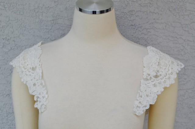 Detachable ivory alencon lace straps to add to your for Adding straps to wedding dress