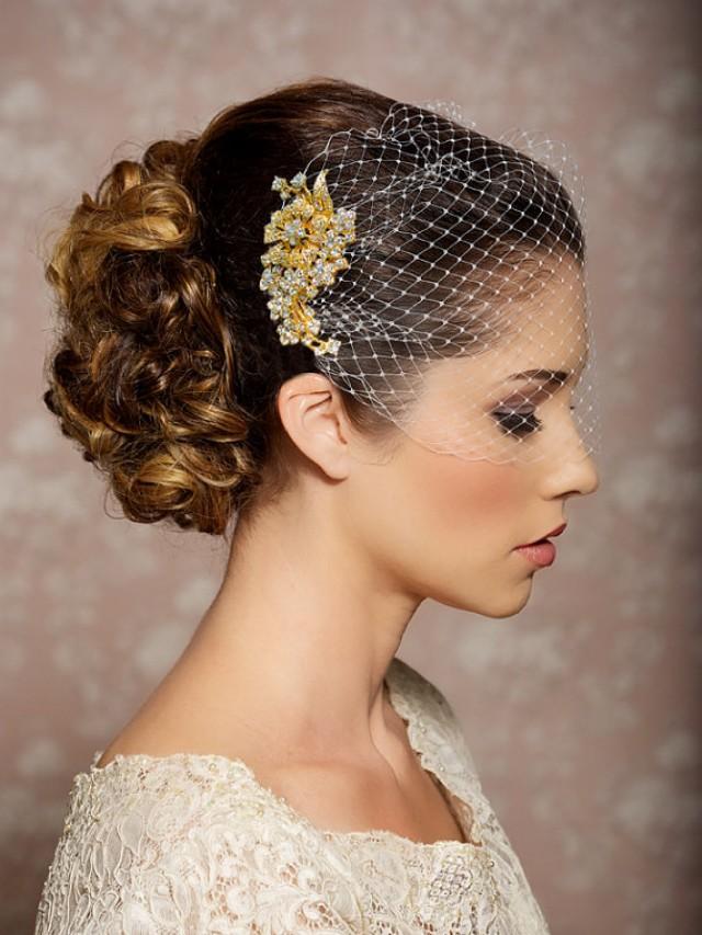 Свадебная прическа с вуалетками