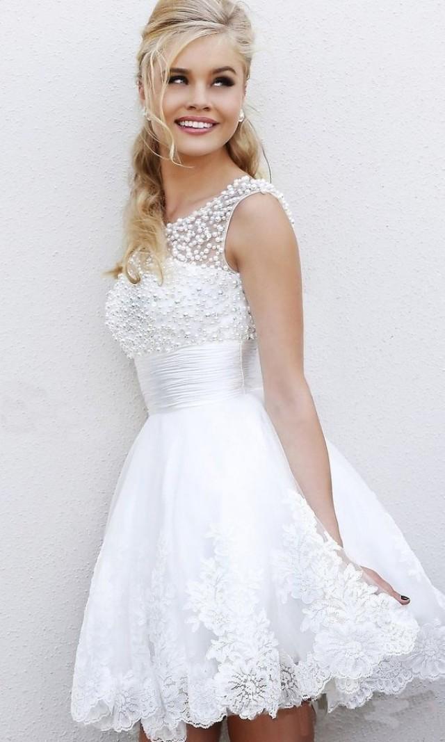 2014 new romantic organza mini beach crystal short sexy for Sexy short wedding dress