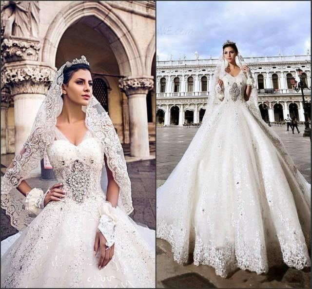 Gorgeous 2015 Wedding Dresses With Beads Lace Crystal