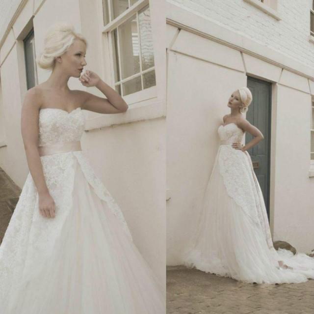 2015 vintage lace tulle wedding dresses garden ribbon sash for Garden party wedding dress