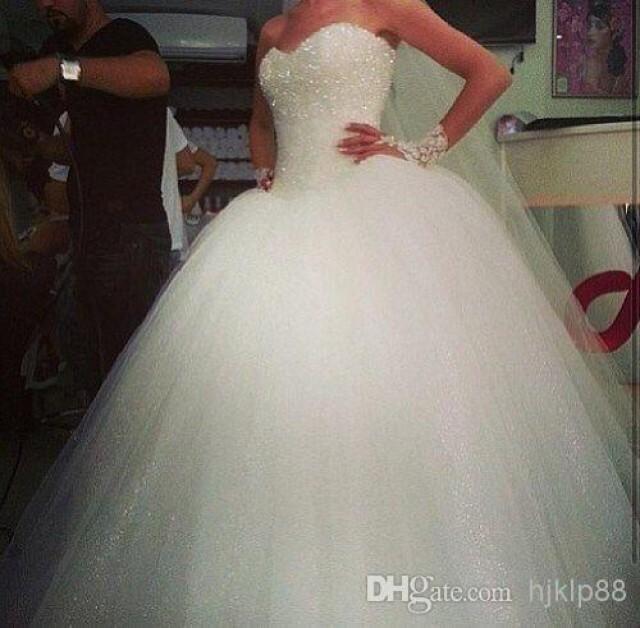 Sweetheart Custom Made Tulle Big Poofy Ball Gown Wedding Dresses ...