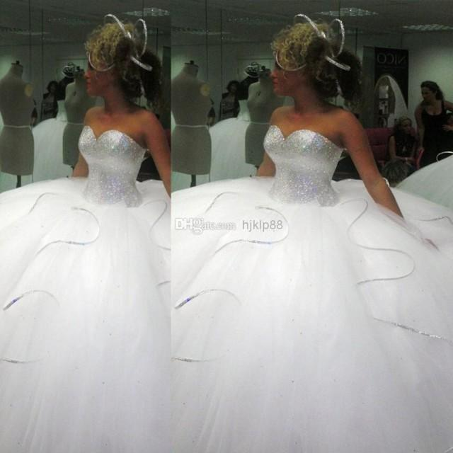 2014 bling bling big poofy wedding dresses custom made for Big tulle ball gown wedding dress