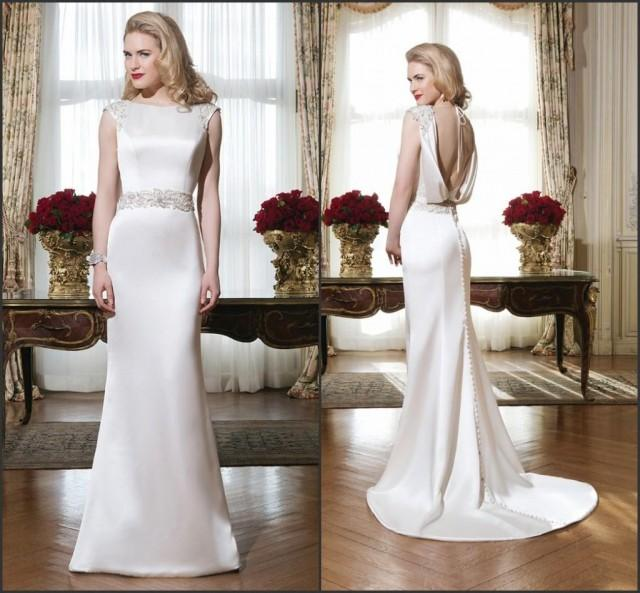 Bright satin wedding dresses 2015 justin alexander sheath for Crew neck wedding dress