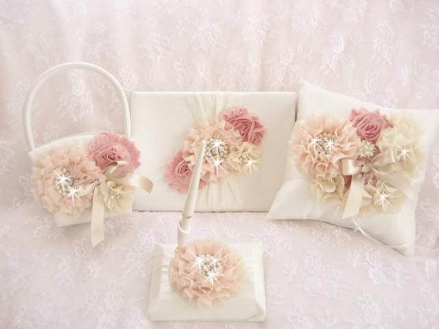 How To Make Flowers Girl Basket : Victorian rose wedding set basket and pillow guest book