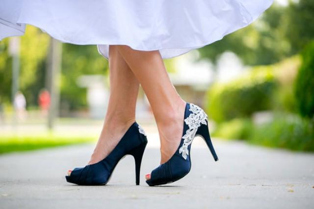 wedding photo - Wedding Shoes. Navy Blue Wedding Shoes/Bridal Shoes with Ivory Lace. US Size 9.5