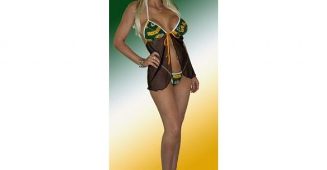 8297bf68e40 NFL Green Bay Packers Lingerie Negligee Babydoll Sexy Green Teddy Set with Matching  G-String Thong Panty