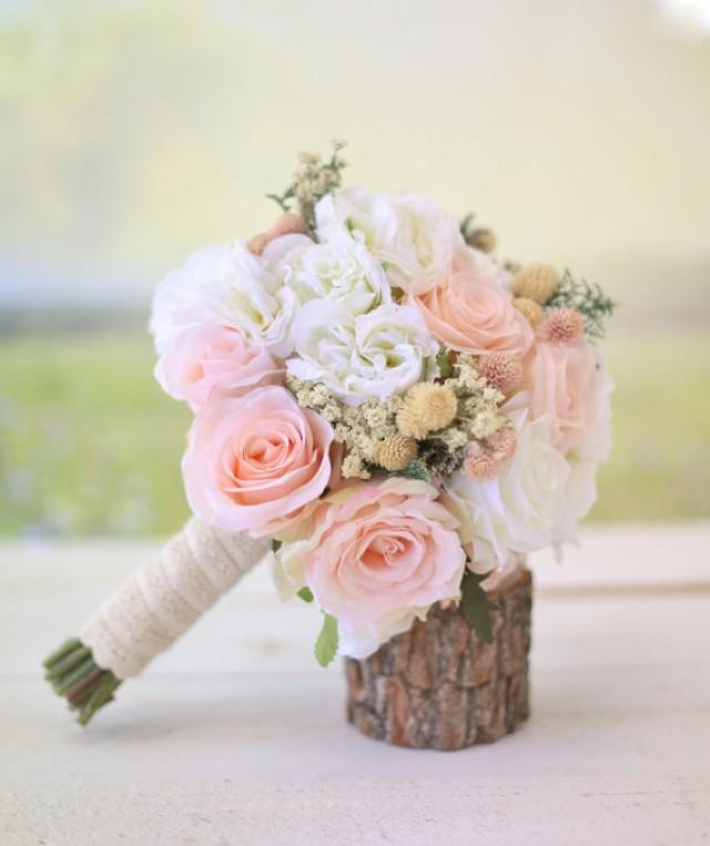 Silk Bridal Bouquet Wildflowers Pink Roses Babys Breath Rustic Chic Wedding NEW 2014 Design By