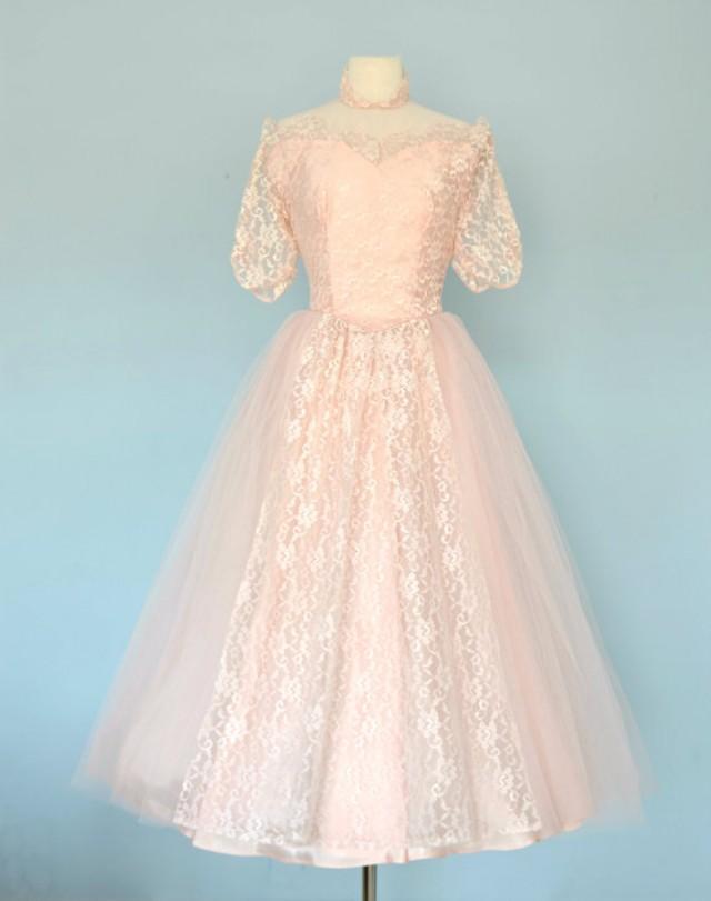 vintage 1950s wedding dress ballerina length wedding ForMedium Length Wedding Dresses