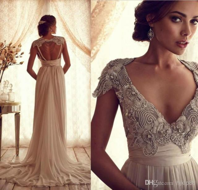 Tassel beads lace wedding dress inspired latest deep v for Beaded vintage style wedding dresses