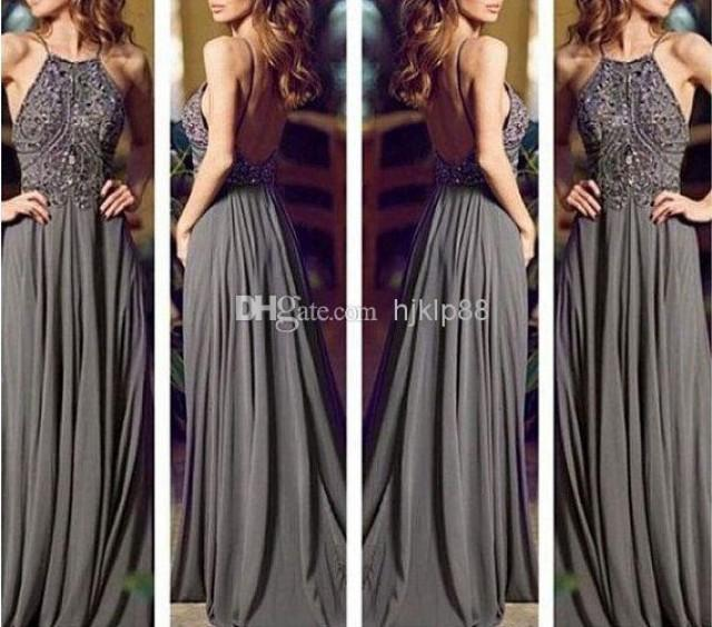 2014 backless gray long chiffon bling prom dressprom gown