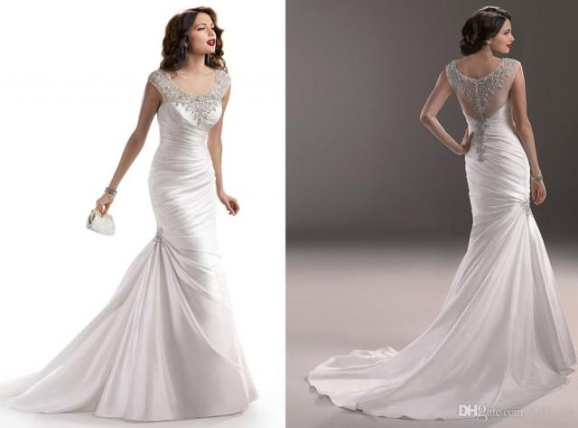2015 New Arrival Satin Mermaid Backless Wedding Dresses