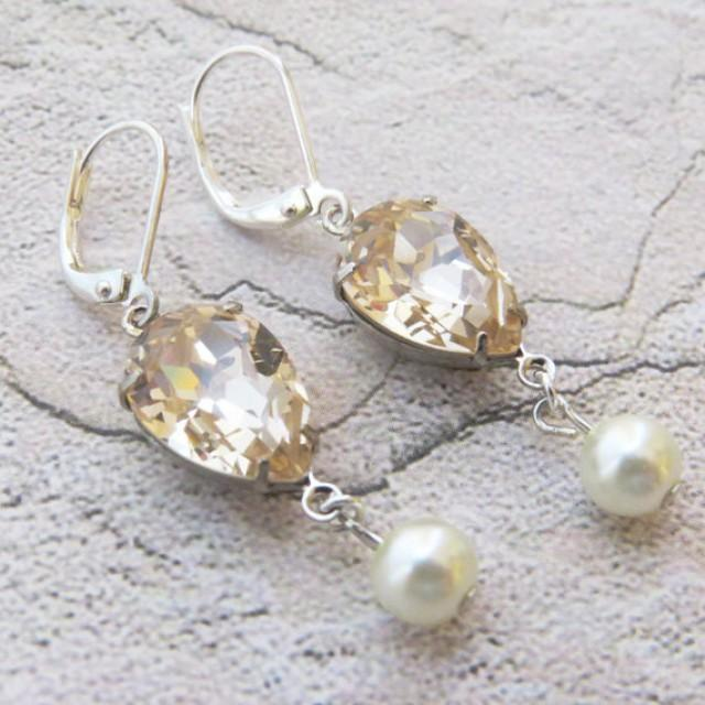 Champagne earrings champagne pearl bridal earrings vintage for Jewelry for champagne wedding dress