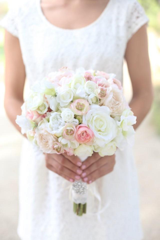 Silk Bride Bouquet White Cream Pale Pink Roses And Peonies ...