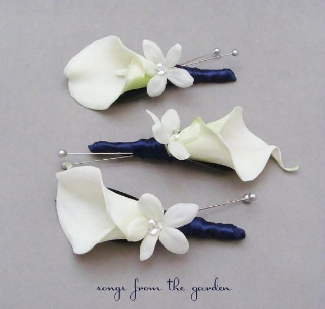 Wedding Flower Ideas For Groomsmen : Real touch calla lily stephanotis boutonnieres groom