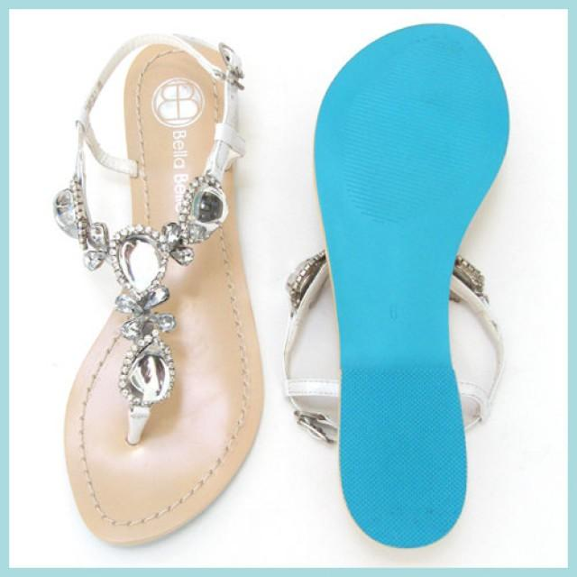 Something Blue Sole Jewel Crystal Strappy White Bridal Thong Sandals Shoes Destination Beach