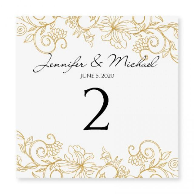 Instant download wedding table number card template vintage bouquet gold foldover for Wedding table numbers template