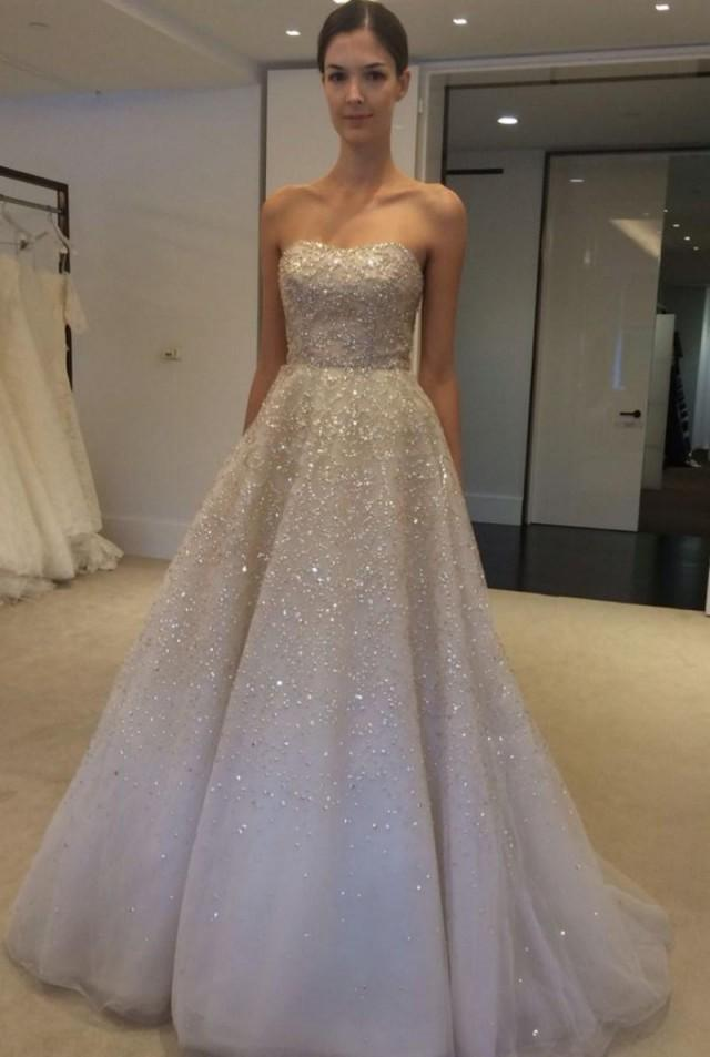 Real image wedding dresses 2015 spring ivory sequins beads for Strapless sparkly wedding dresses