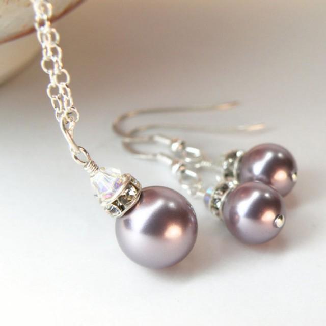 Purple Pearl Jewelry Set, Bridesmaid Pearl Set ...