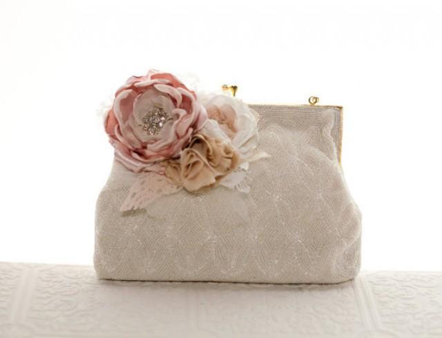 Bridal Beaded Vintage Clutch Purse With Flowers Wedding Purse Bridal Framed Clutch Handbag ...