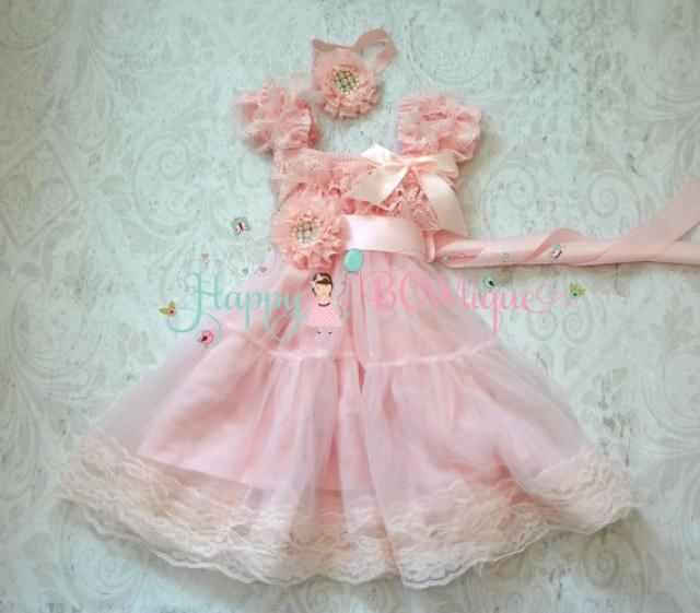 wedding photo - Girl dress, Baby Pink Chiffon Lace Dress set, baby girls dress,1st Birthday dress, Pink Flowy dress,Flower girls dress,Princess Dress, Girls