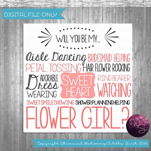 "Flower Girl Proposal Cards ""Aisle Dancing Sweetheart"" (Printable File Only) Ask Flower Girl Be ..."