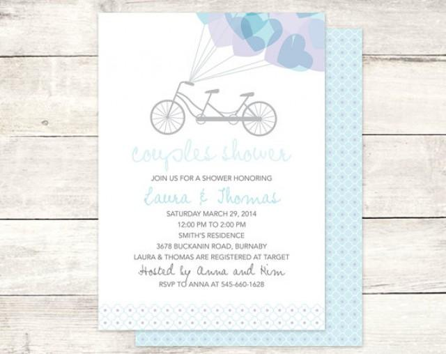 Couples shower invitation printable purple blue bridal shower couples shower invitation printable purple blue bridal shower wedding shower tandem bicycle hearts digital invite customizable personalized 2236702 filmwisefo