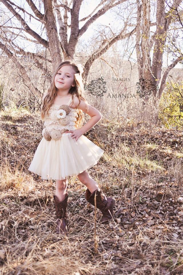 Rustic Tutu Flower Girl Dress-Lace Tutu Flower Girl Dress-Cream ...
