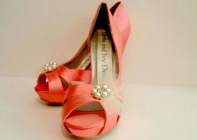 Coral Silk Heels Guava Silk Wedding Heels Four Inch Heels Bridal Shoes Si