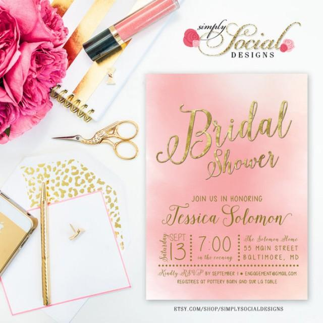 Pink And Gold Bridal Shower Invitations and get inspiration to create nice invitation ideas