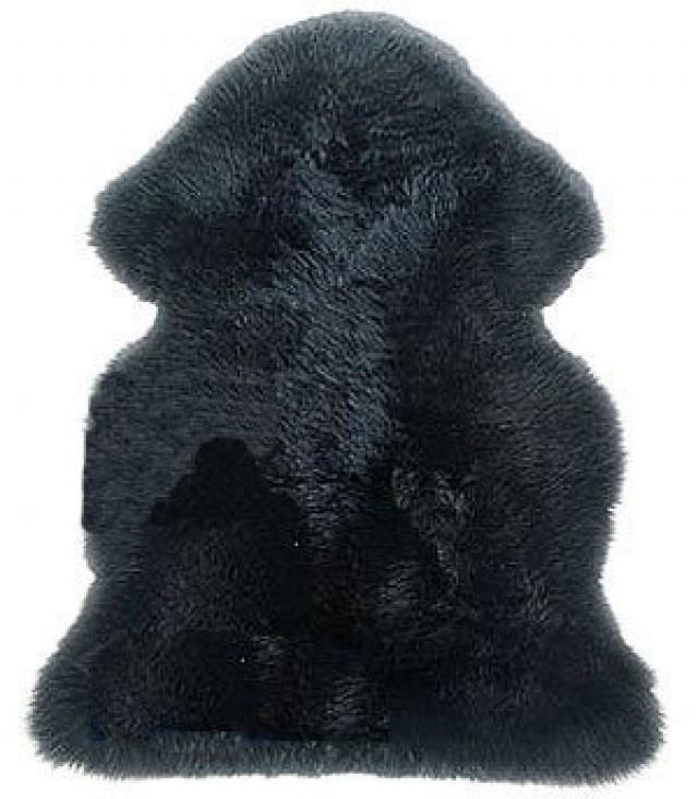 wedding photo - SW9684-bk New Genuine Sheepskin Fur Leather Pelt Rug Black Color