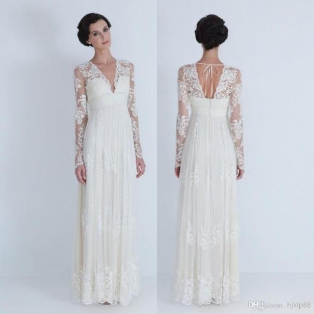 2014 sheer wedding dresses v neck long sleeve pleated for V neck long sleeve wedding dress