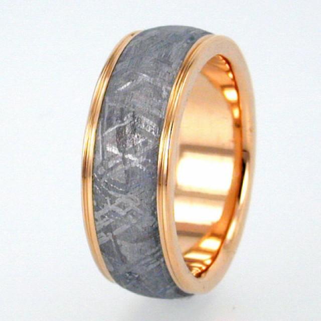 gibeon meteorite ring with widmanstatten pattern gold