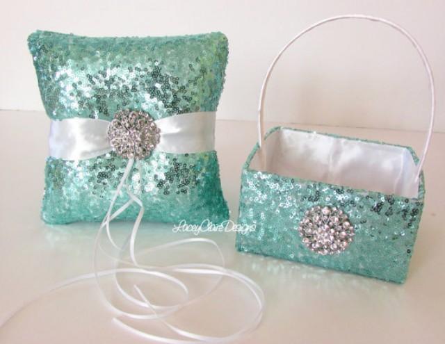 Sequin Flower Girl Basket And Wedding Ring Pillow Set Custom Made