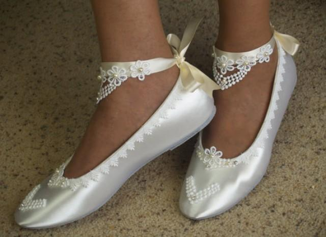 77a3c68f9b6483 Bridal Victorian Flats White Shoes Fine US Lace pearls and crystals  embellished - Wedding flat shoes Victorian