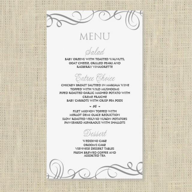 wedding menu card template instantly edit yourself swirls pewter 4 x 7